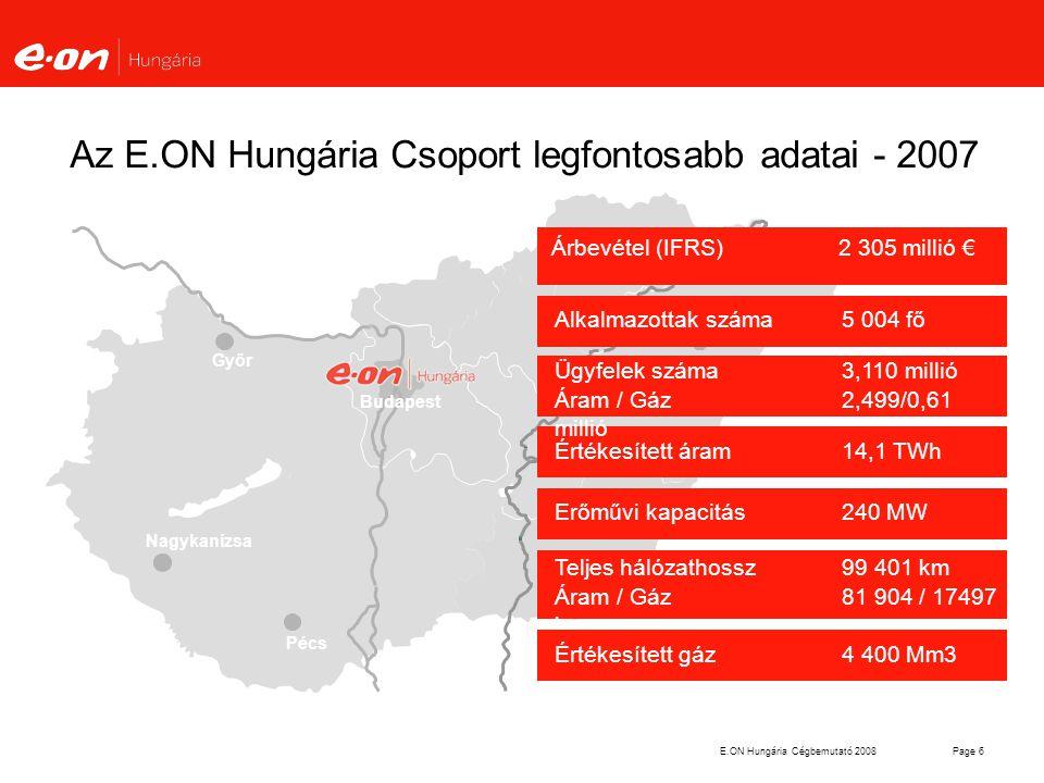 Az E.ON Hungária Csoport legfontosabb adatai - 2007