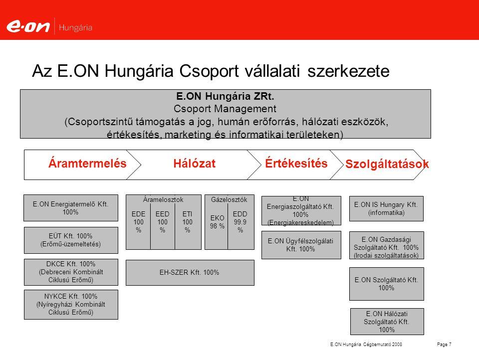 Az E.ON Hungária Csoport vállalati szerkezete