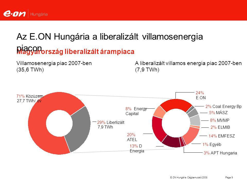 Az E.ON Hungária a liberalizált villamosenergia piacon
