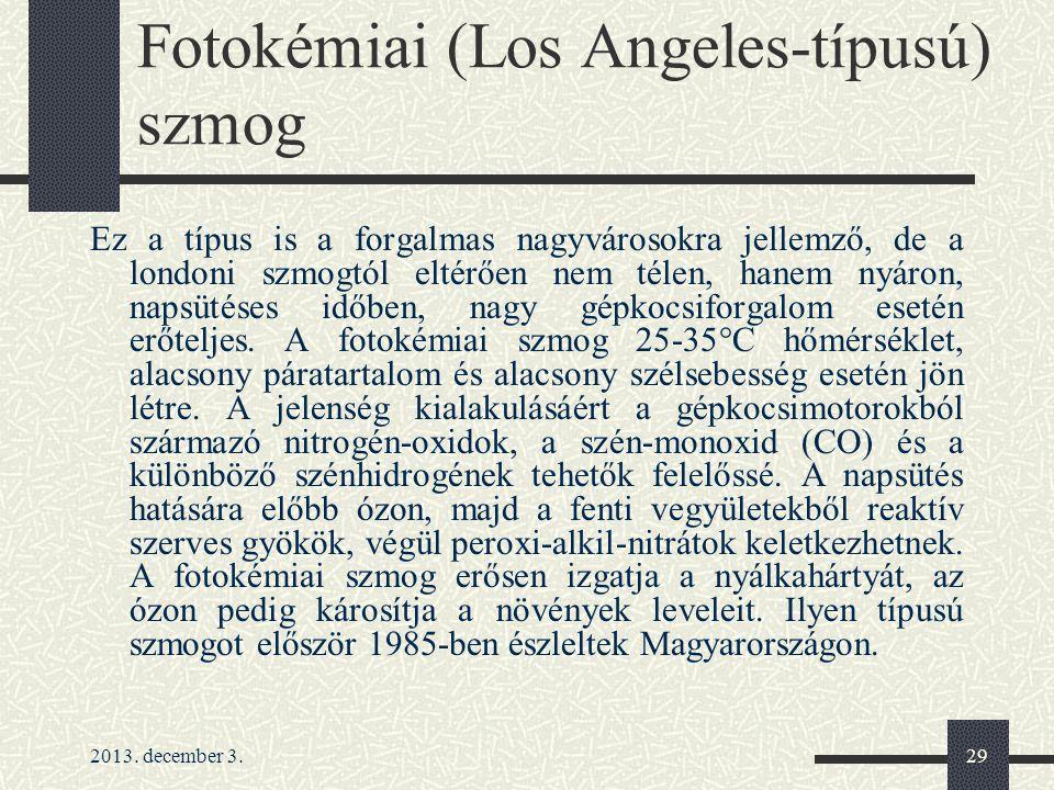Fotokémiai (Los Angeles-típusú) szmog