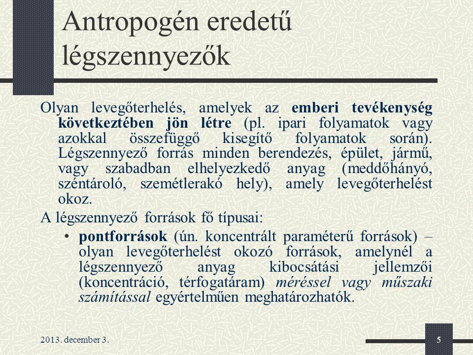 Antropogén eredetű légszennyezők
