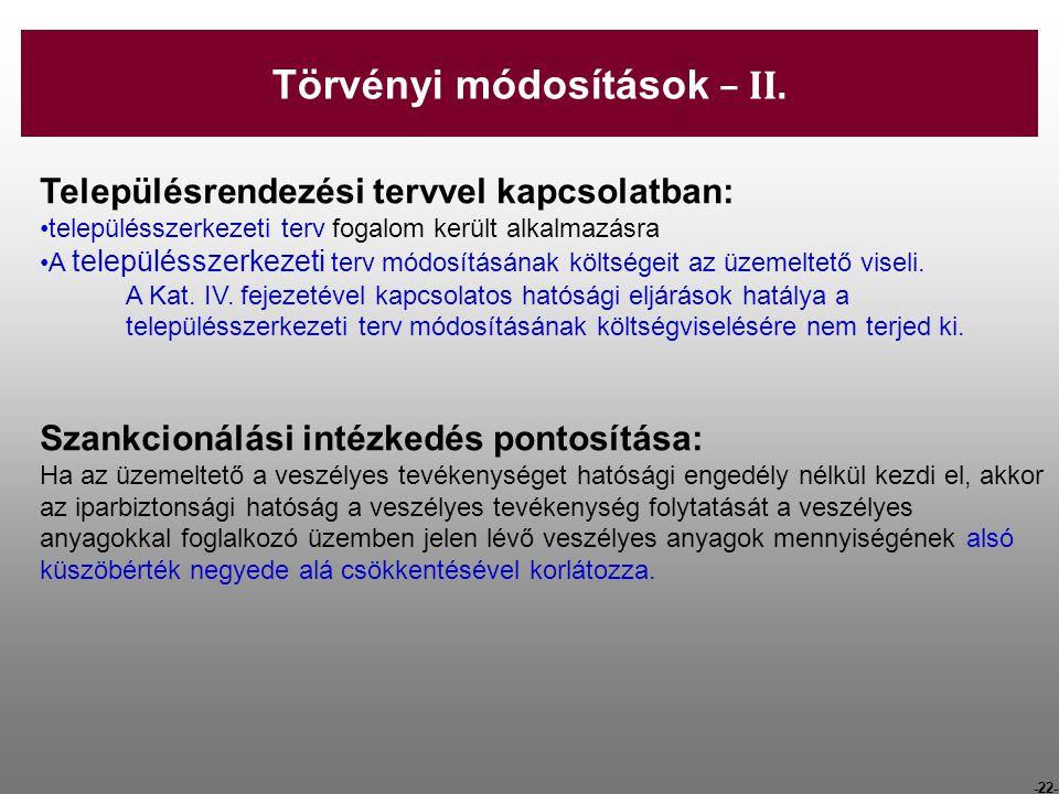 Törvényi módosítások – II.