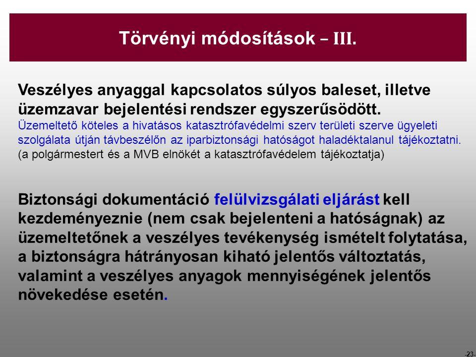 Törvényi módosítások – III.