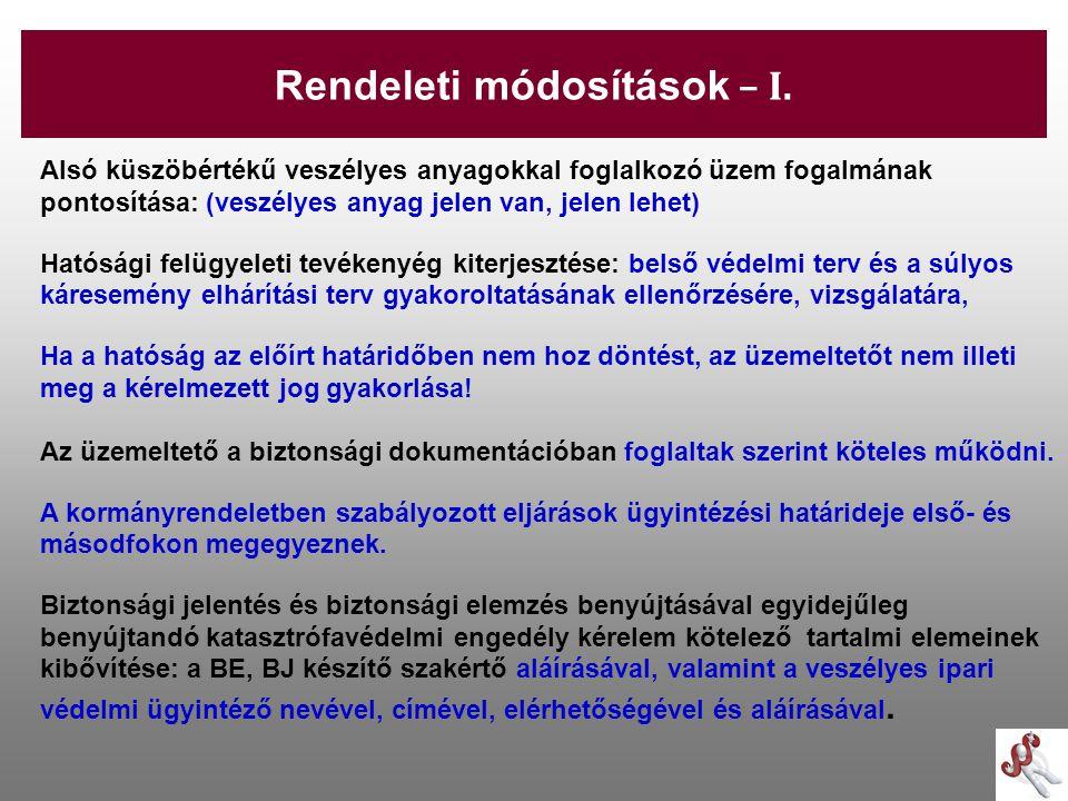 Rendeleti módosítások – I.