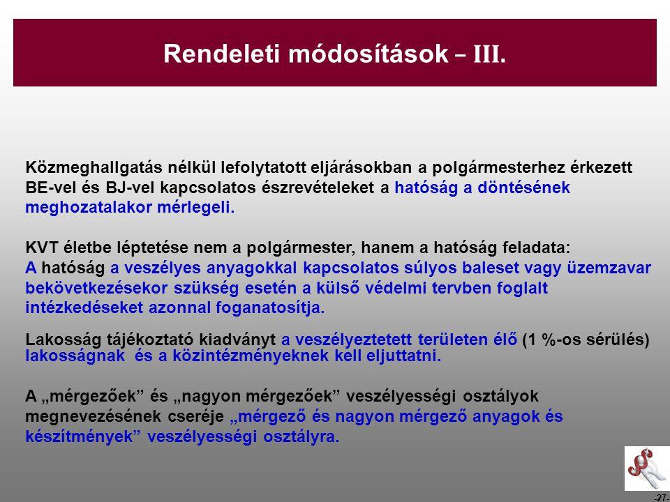 Rendeleti módosítások – III.