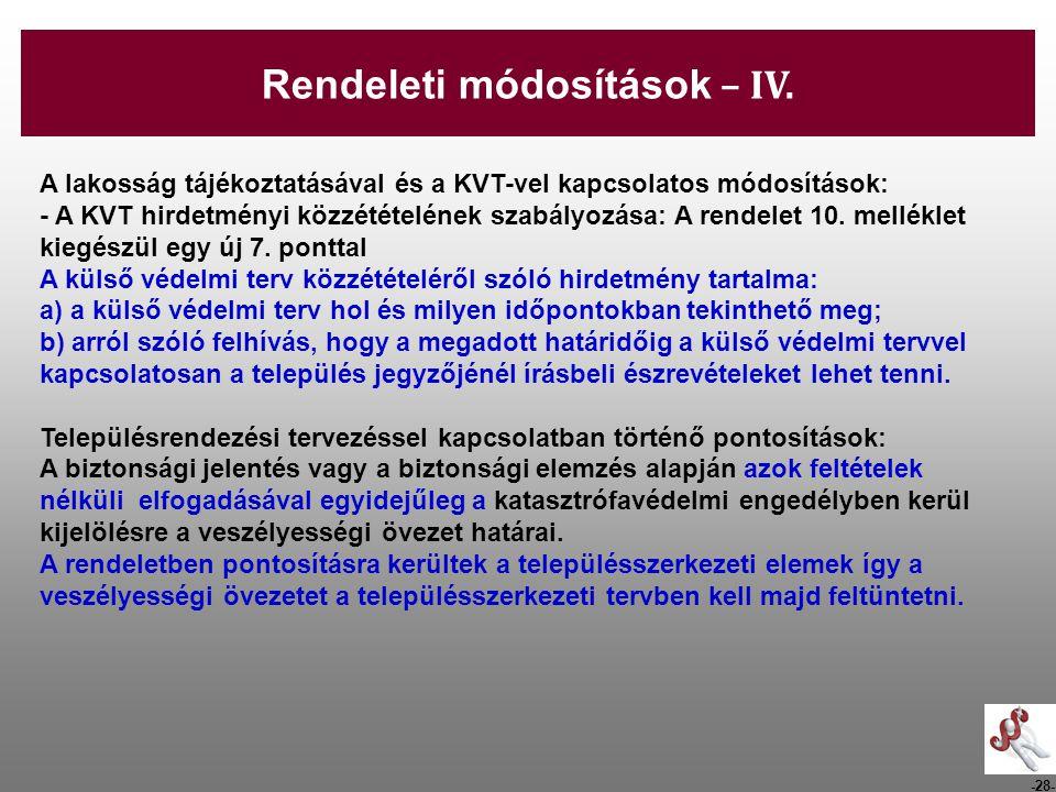 Rendeleti módosítások – IV.