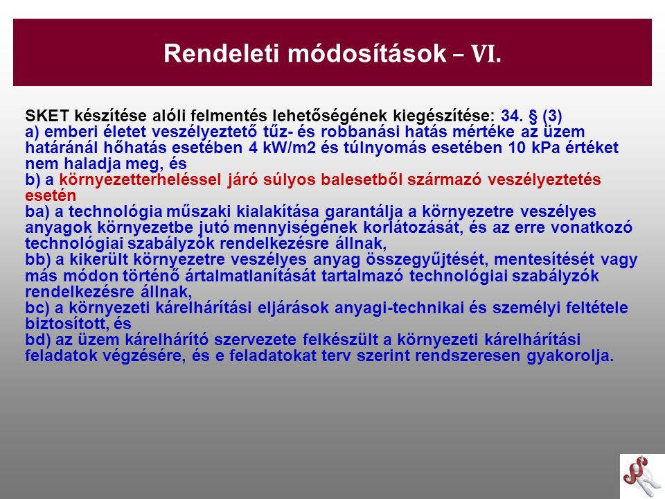 Rendeleti módosítások – VI.