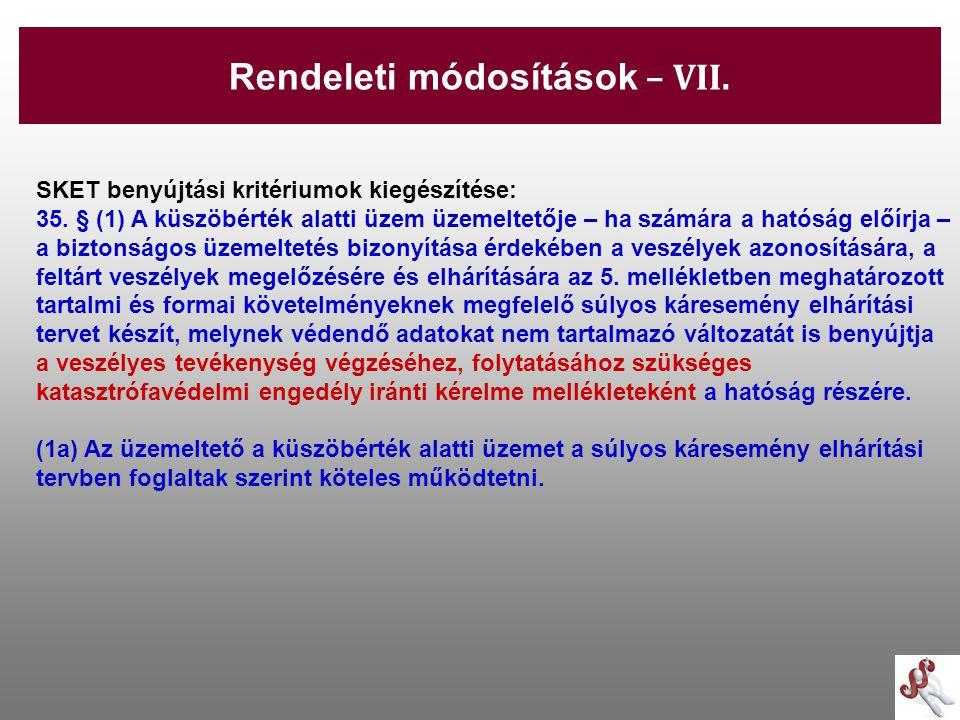 Rendeleti módosítások – VII.
