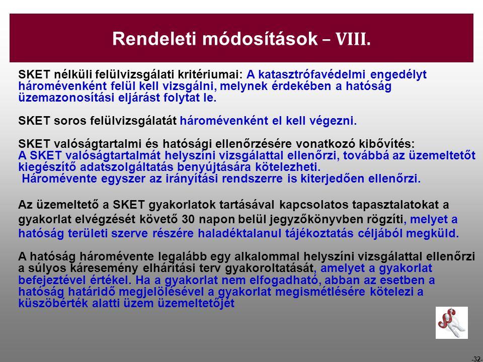 Rendeleti módosítások – VIII.
