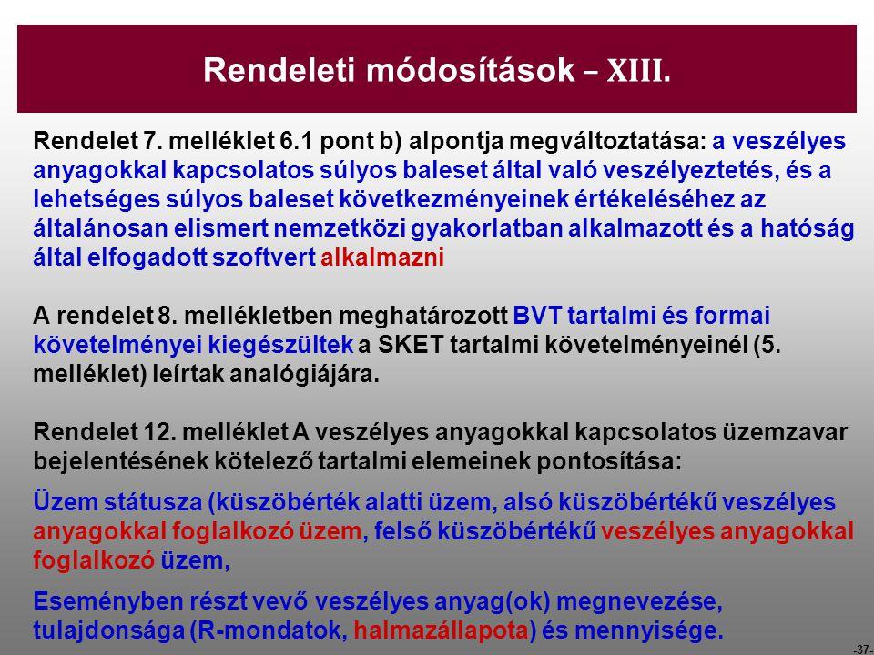 Rendeleti módosítások – XIII.