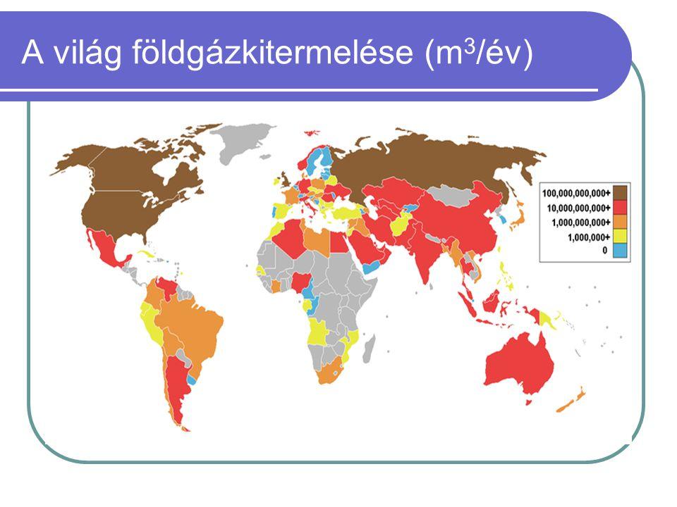 A világ földgázkitermelése (m3/év)