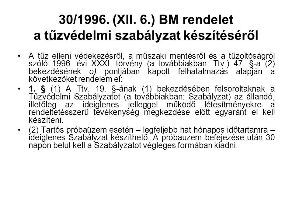 30/1996. (XII. 6.) BM rendelet a tűzvédelmi szabályzat készítéséről