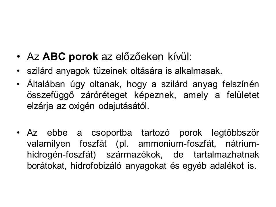 Az ABC porok az előzőeken kívül: