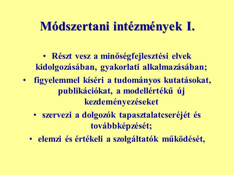 Módszertani intézmények I.