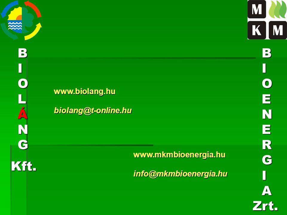 B I O L Á N G B I O E N R G A Kft. Zrt. www.biolang.hu