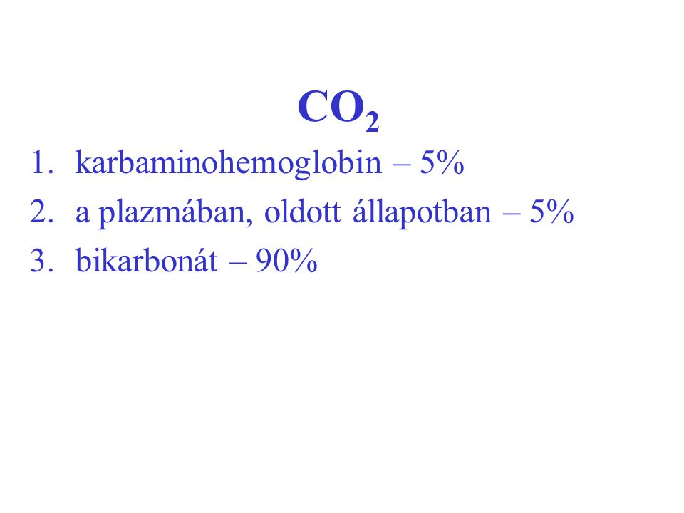CO2 karbaminohemoglobin – 5% a plazmában, oldott állapotban – 5%