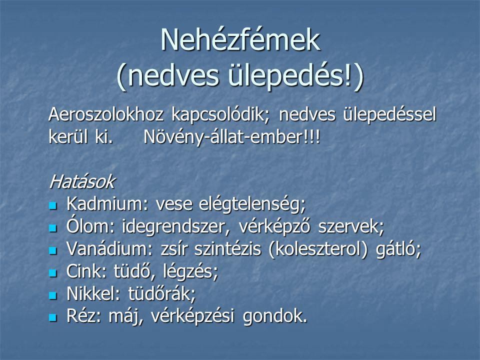 Nehézfémek (nedves ülepedés!)