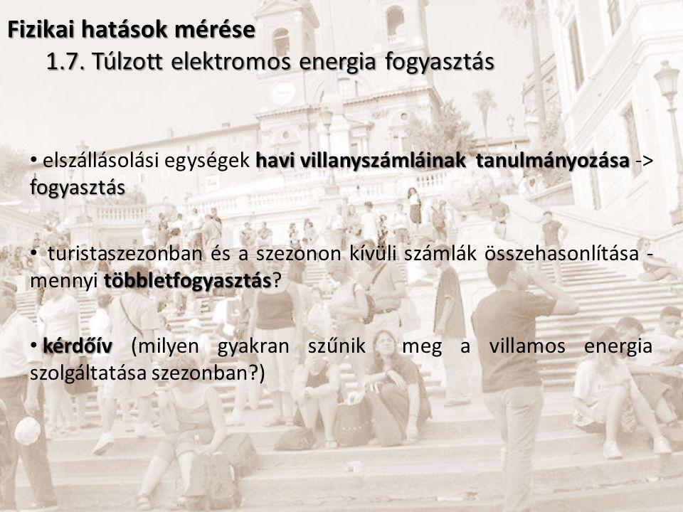Fizikai hatások mérése 1.7. Túlzott elektromos energia fogyasztás