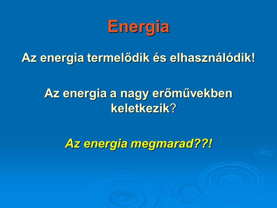 Az energia termelődik és elhasználódik!