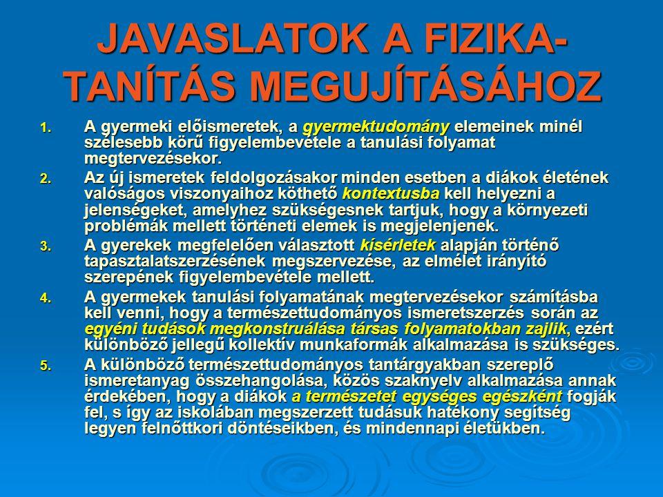JAVASLATOK A FIZIKA-TANÍTÁS MEGUJÍTÁSÁHOZ