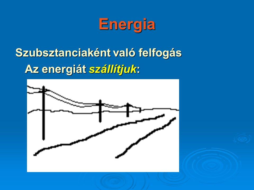 Energia Szubsztanciaként való felfogás Az energiát szállítjuk: