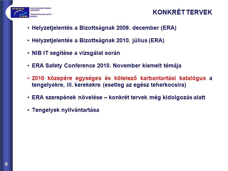 KONKRÉT TERVEK Helyzetjelentés a Bizottságnak 2009. december (ERA)