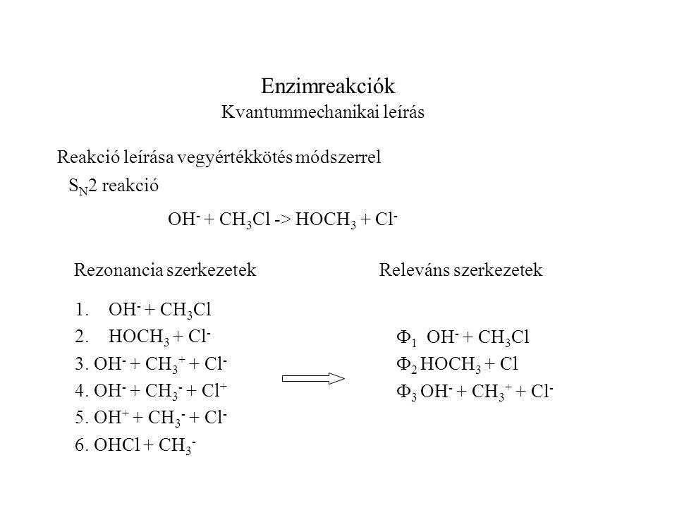Enzimreakciók Kvantummechanikai leírás