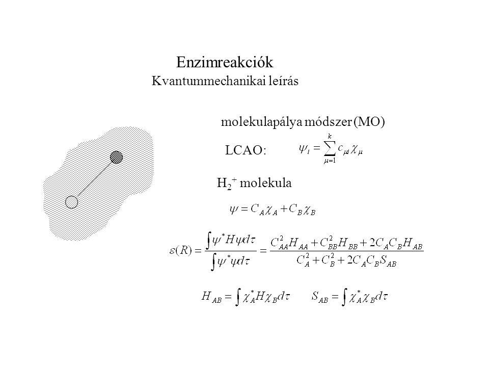 Enzimreakciók Kvantummechanikai leírás molekulapálya módszer (MO)
