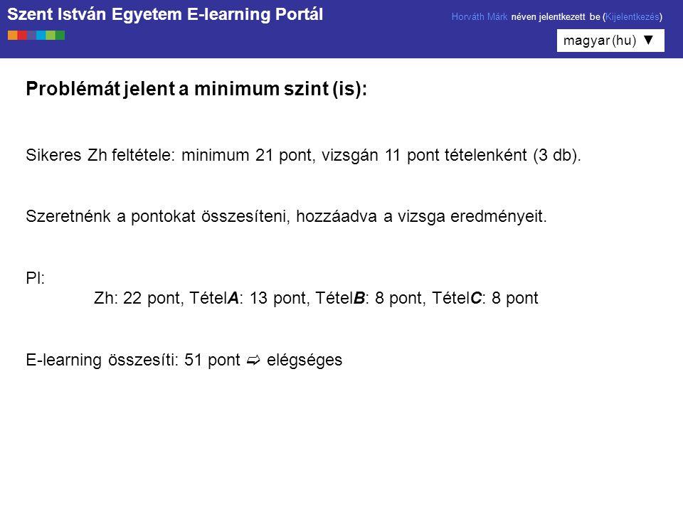 Problémát jelent a minimum szint (is):