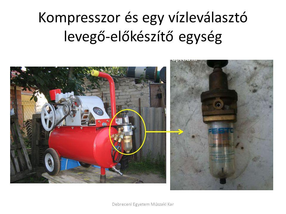 Kompresszor és egy vízleválasztó levegő-előkészítő egység