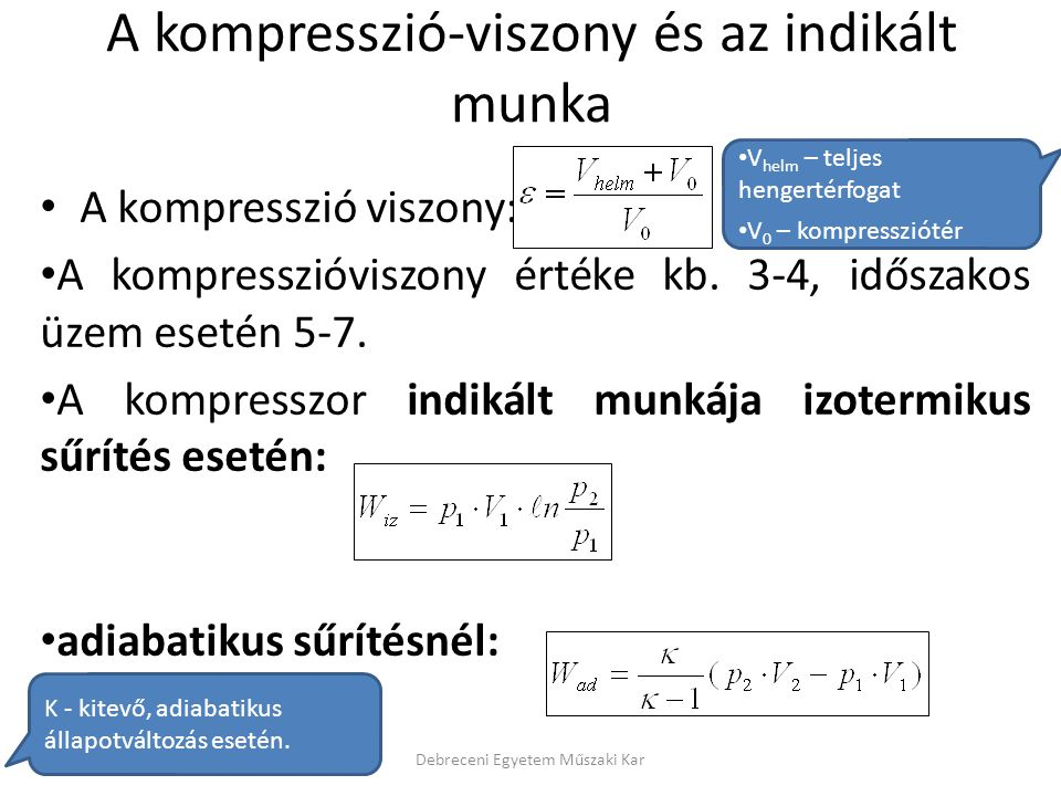 A kompresszió-viszony és az indikált munka