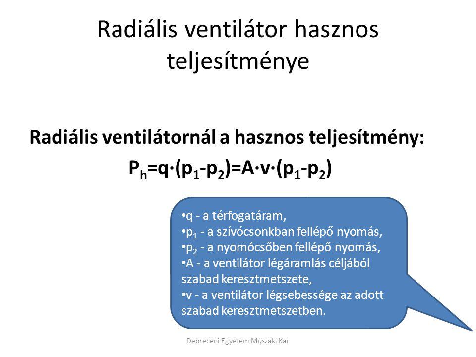 Radiális ventilátor hasznos teljesítménye