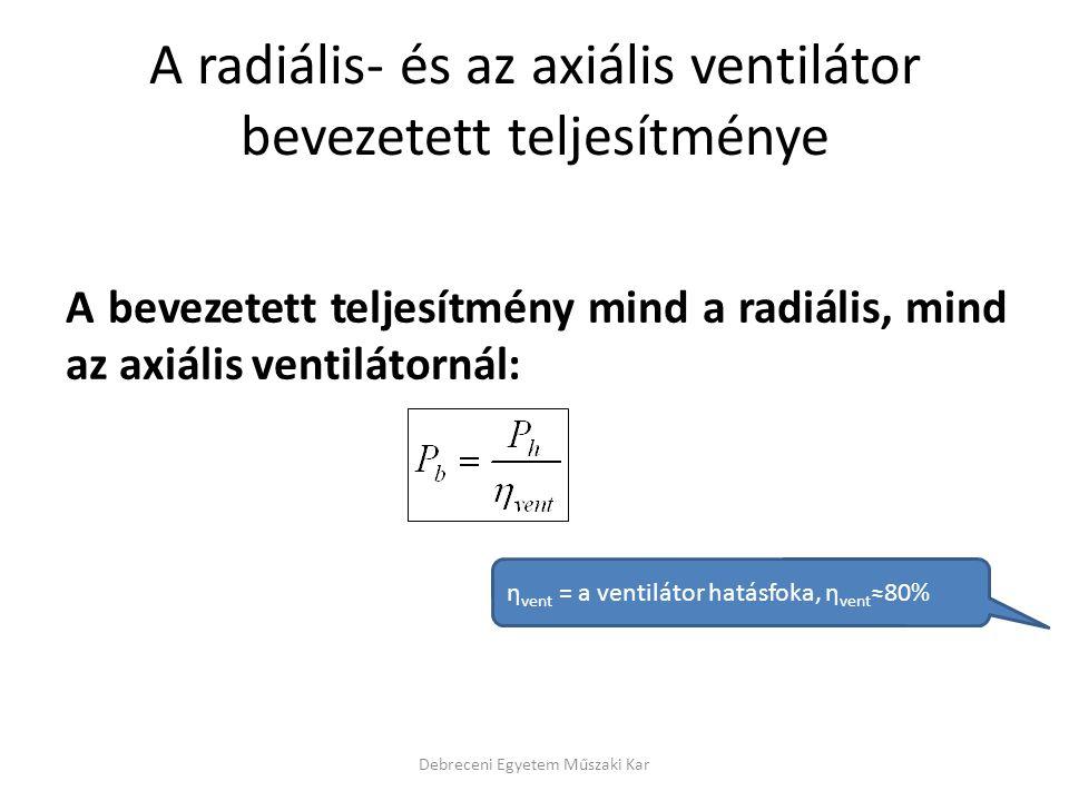 A radiális- és az axiális ventilátor bevezetett teljesítménye