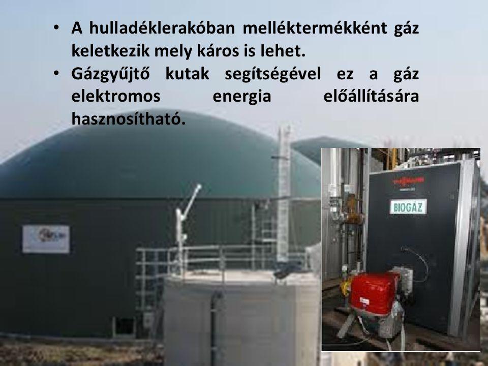 A hulladéklerakóban melléktermékként gáz keletkezik mely káros is lehet.