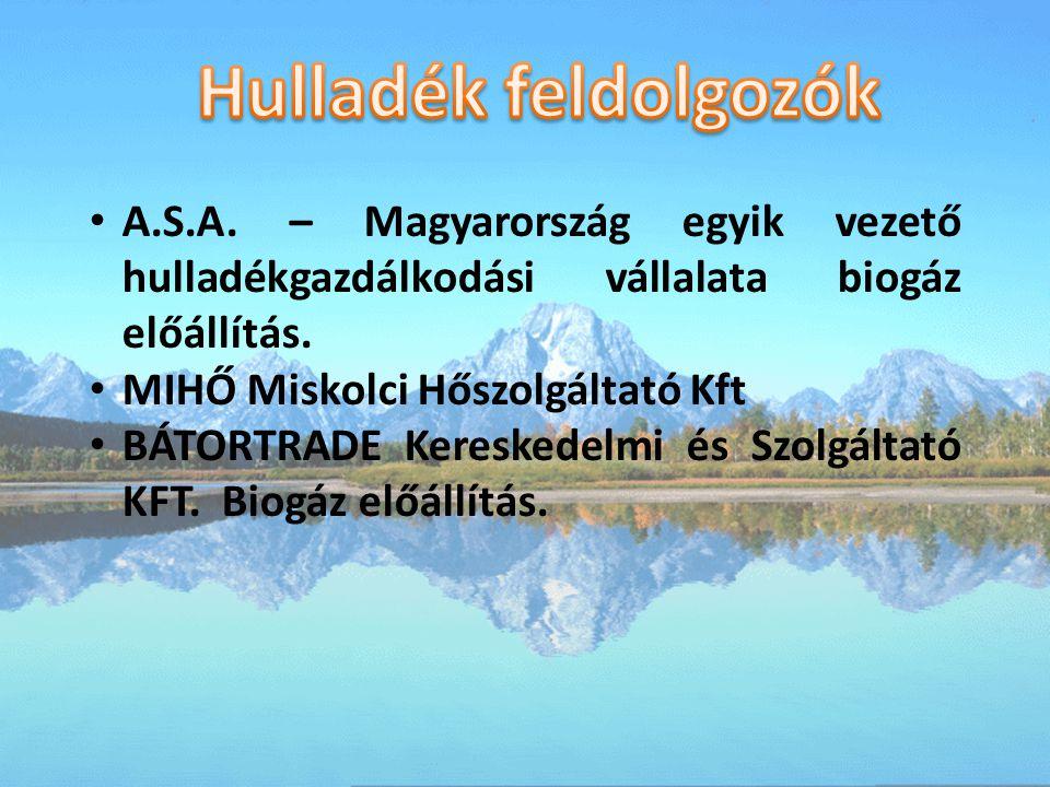 Hulladék feldolgozók A.S.A. – Magyarország egyik vezető hulladékgazdálkodási vállalata biogáz előállítás.
