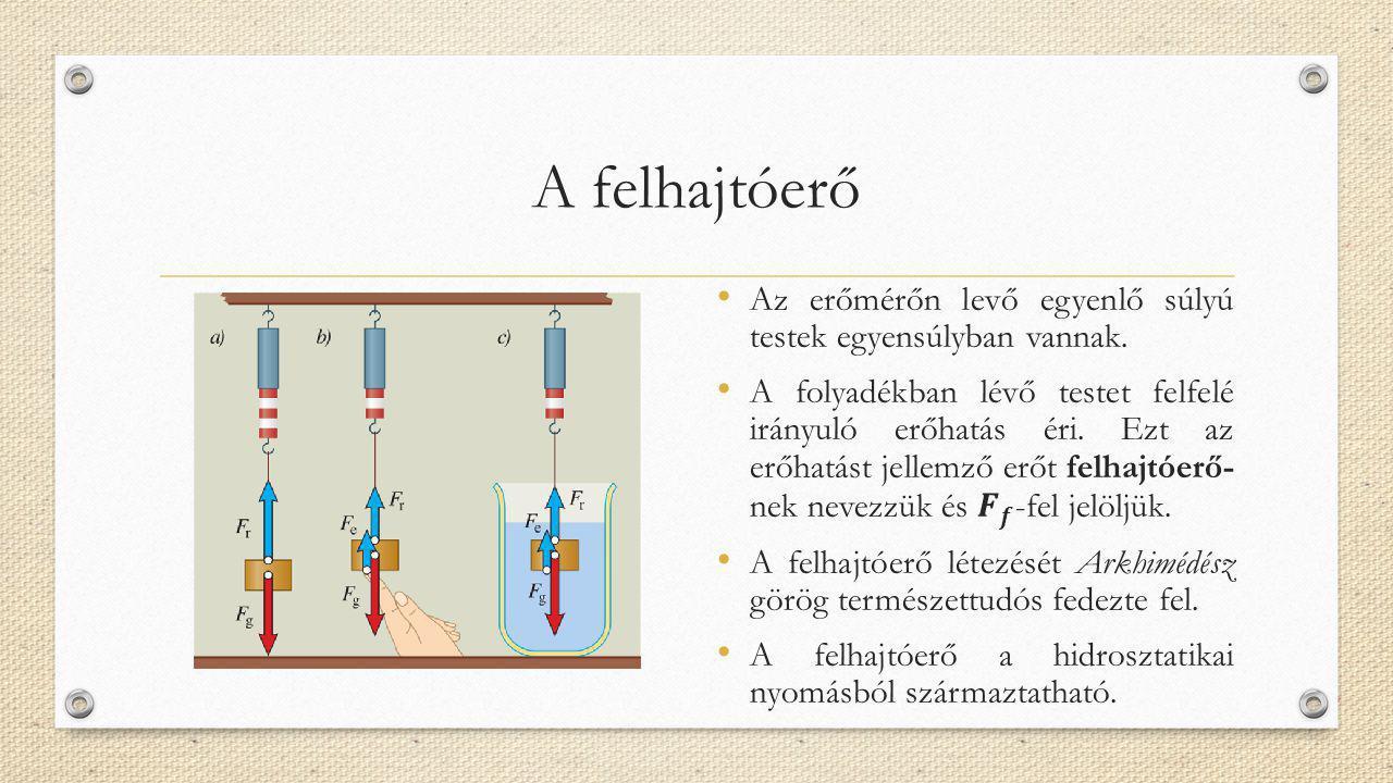 A felhajtóerő Az erőmérőn levő egyenlő súlyú testek egyensúlyban vannak.