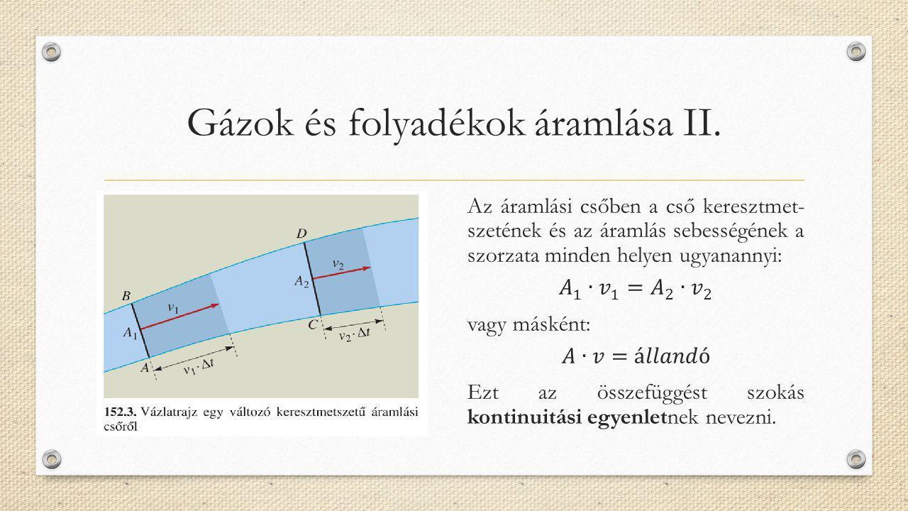 Gázok és folyadékok áramlása II.