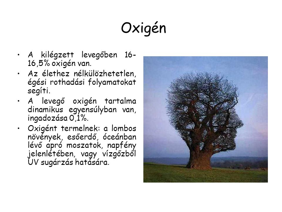Oxigén A kilégzett levegőben 16-16,5% oxigén van.