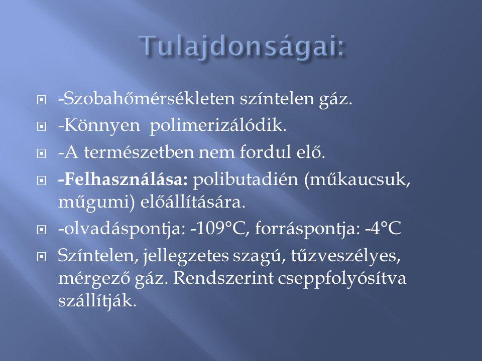 Tulajdonságai: -Szobahőmérsékleten színtelen gáz.
