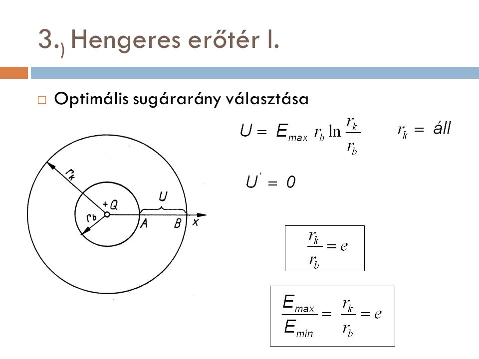 3.) Hengeres erőtér I. Optimális sugárarány választása