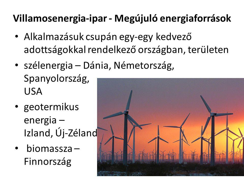 Villamosenergia-ipar - Megújuló energiaforrások