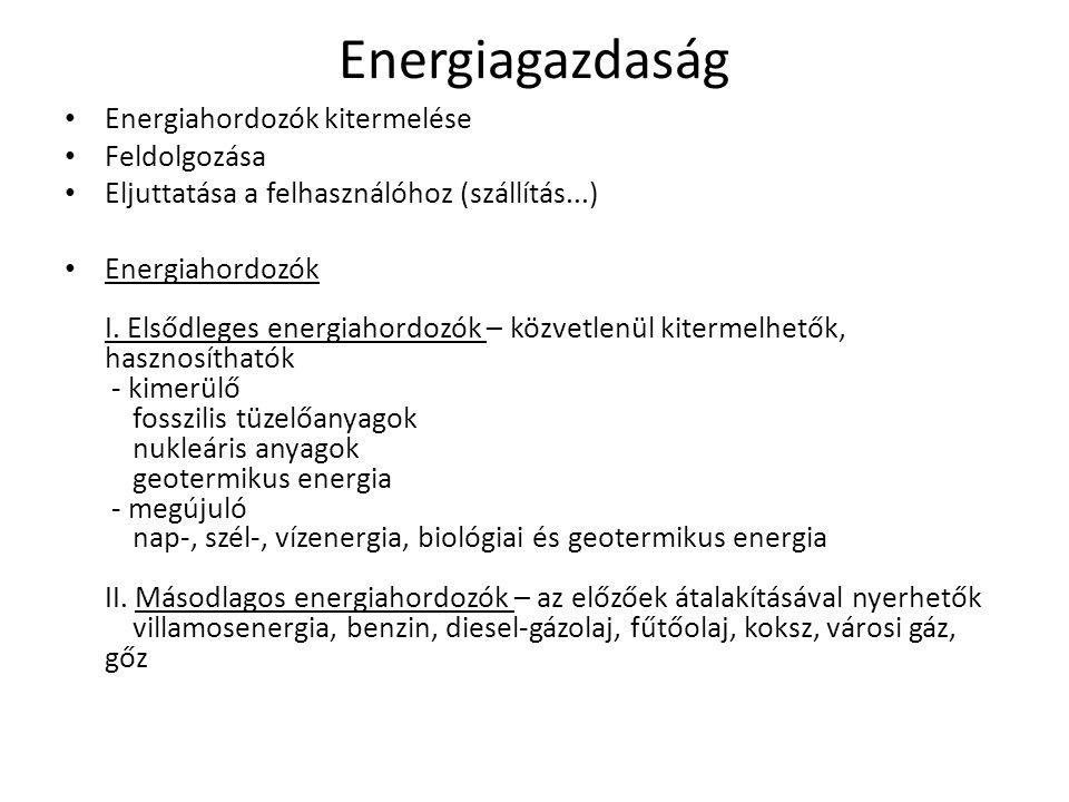 Energiagazdaság Energiahordozók kitermelése Feldolgozása