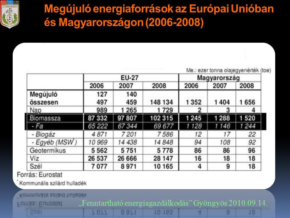 Megújuló energiaforrások az Európai Unióban és Magyarországon (2006-2008)