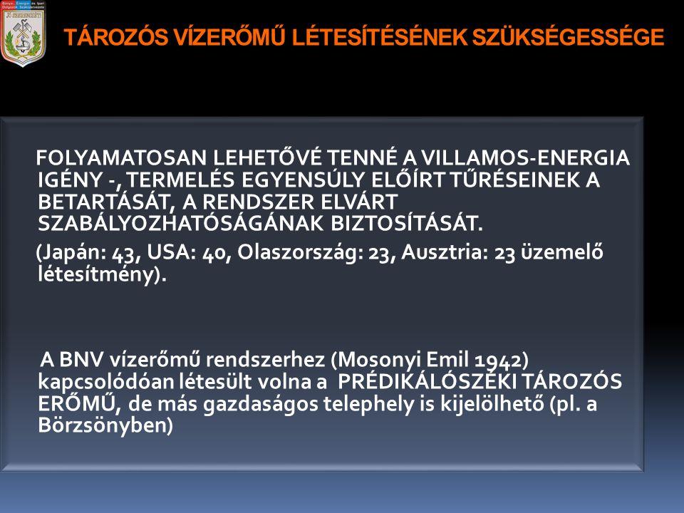 TÁROZÓS VÍZERŐMŰ LÉTESÍTÉSÉNEK SZÜKSÉGESSÉGE