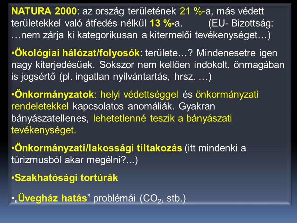 NATURA 2000: az ország területének 21 %-a, más védett területekkel való átfedés nélkül 13 %-a. (EU- Bizottság: …nem zárja ki kategorikusan a kitermelői tevékenységet…)