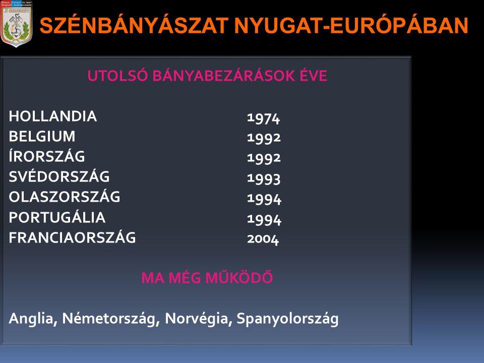 SZÉNBÁNYÁSZAT NYUGAT-EURÓPÁBAN