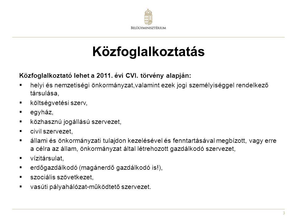 Közfoglalkoztatás Közfoglalkoztató lehet a 2011. évi CVI. törvény alapján: