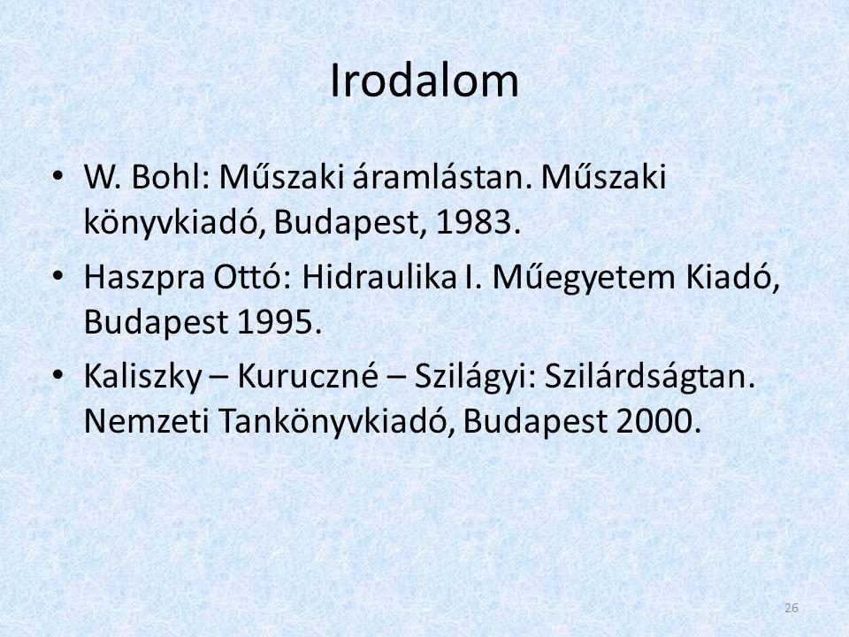 Irodalom W. Bohl: Műszaki áramlástan. Műszaki könyvkiadó, Budapest, 1983. Haszpra Ottó: Hidraulika I. Műegyetem Kiadó, Budapest 1995.