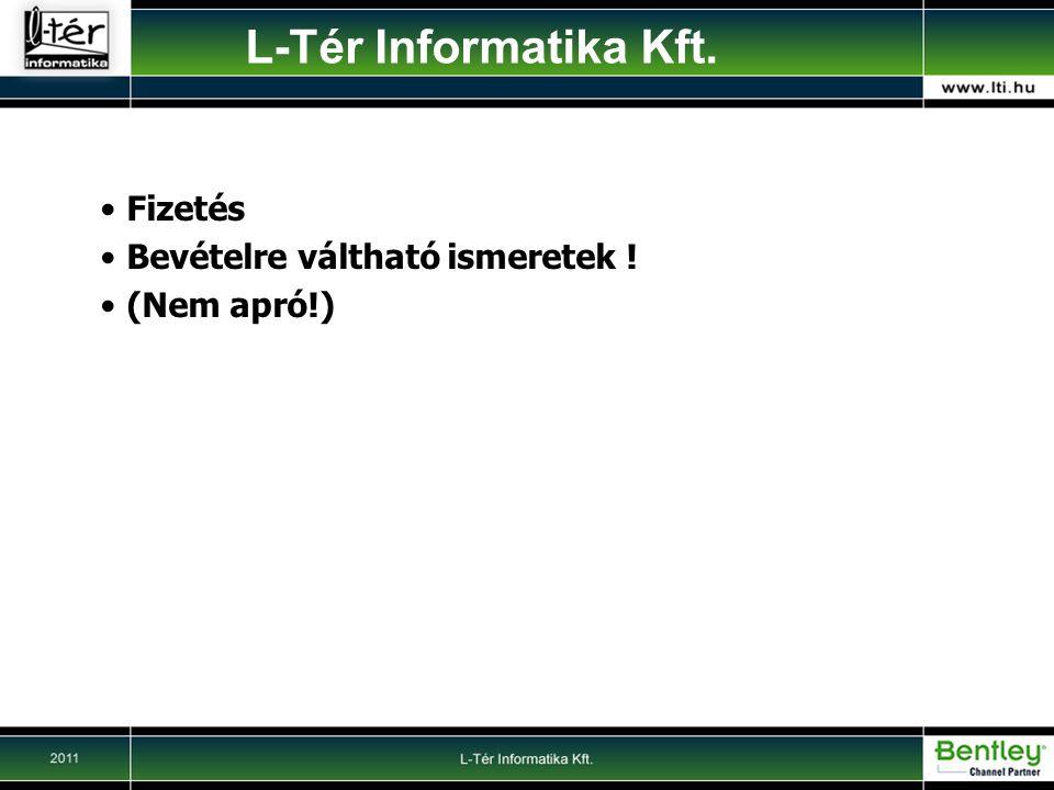 L-Tér Informatika Kft. Fizetés Bevételre váltható ismeretek !