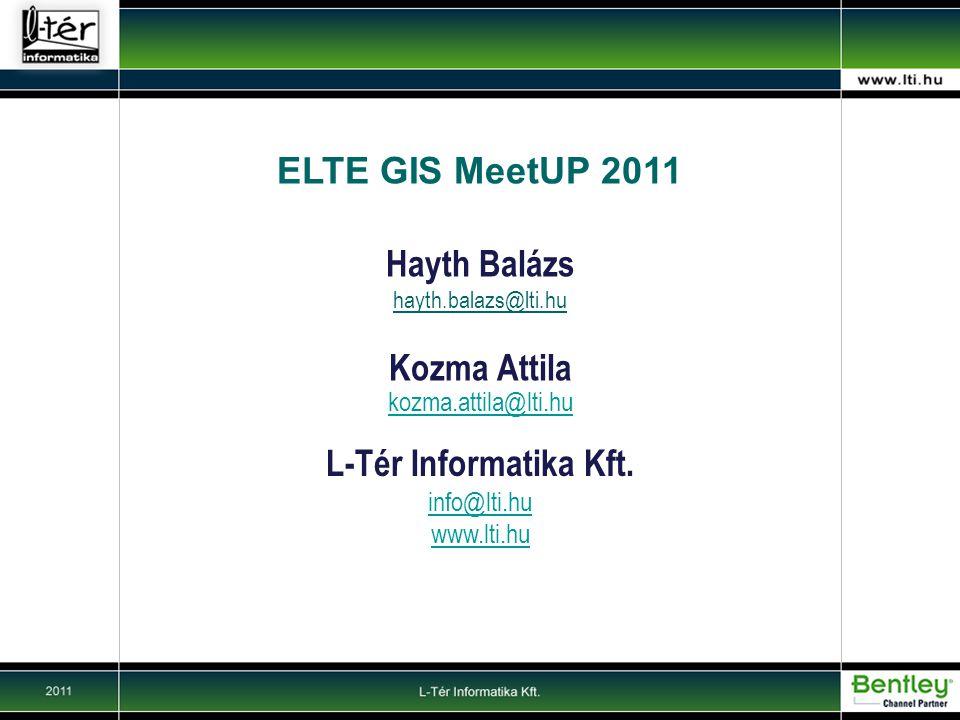 ELTE GIS MeetUP 2011 Hayth Balázs Kozma Attila L-Tér Informatika Kft.